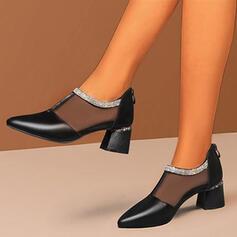Frauen PU Stämmiger Absatz Stiefelette Spitze mit Strass Stich Spitzen Schuhe