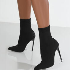 Women's Suede Stiletto Heel Boots Ankle Boots Pointed Toe With Elastic Band Solid Color shoes