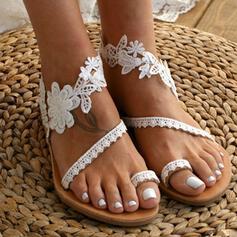 Frauen Kunstleder Flascher Absatz Flache Schuhe mit Stich Spitzen Blume Schuhe