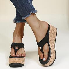 Women's PU Wedge Heel Sandals Platform Wedges Flip-Flops Slippers With Solid Color shoes
