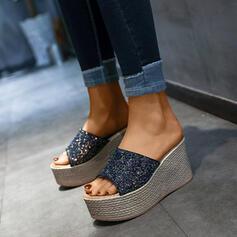 Frauen PU Keil Absatz Keile Peep Toe Pantoffel mit Pailletten Schuhe