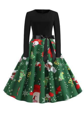 Druck Lange Ärmel A-Linien Knielang Vintage/Weihnachten/Party/Elegant Kleider