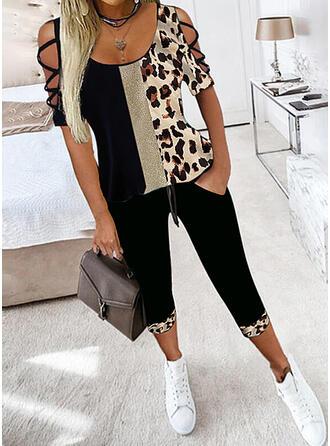 Leopard Color Block Plus Size Sexy Blouse & Suits Set