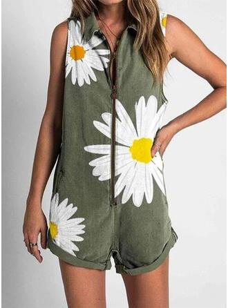 Blumen Druck Hemdkragen Ärmellos Lässige Kleidung Urlaub Strampler