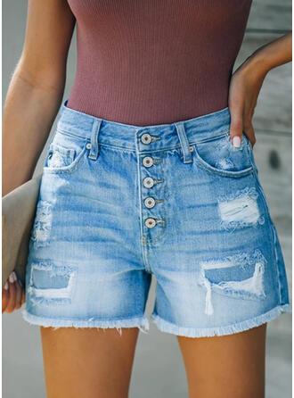 Shirred Zerrissen Lässige Kleidung Kurze Hose Denim Jeans