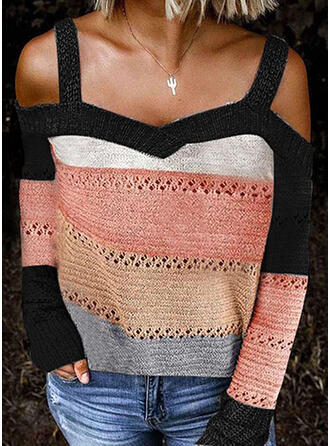 Geblockte Farben Kalte Schulter Freizeit Sexy Pullover