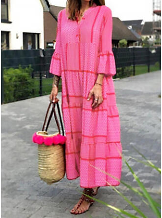 Solid Long Sleeves Flare Sleeve Shift Casual Maxi Dresses