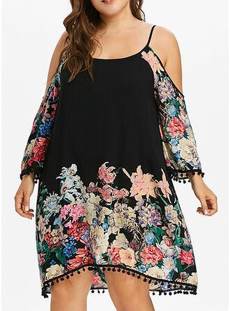 Große Größen Blumen Druck Lange Ärmel Etuikleider Knielang Lässige Kleidung Urlaub Kleid