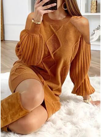 Einfarbig Zopfmuster Kalte Schulter Freizeit Lang Pulloverkleid