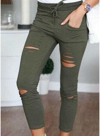 Einfarbig Capris Lässige Kleidung Dünn Einfarbig Hosen