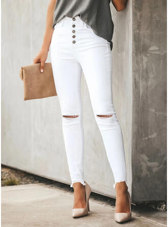 Solid Long Sexy Ripped Pants