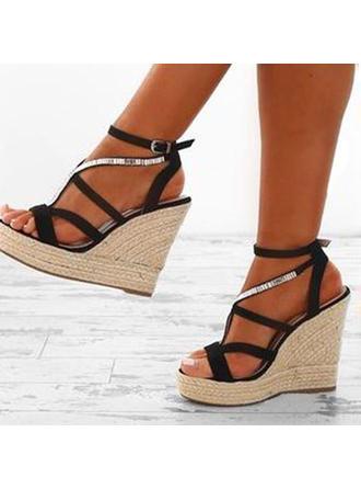 PU Keil Absatz Sandalen Plateauschuh Keile Peep Toe Heels mit Andere Schuhe