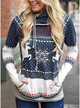 Baumwollmischungen Drucken Weihnachts-Sweatshirt