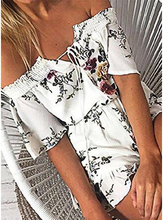 Blumen Druck Off-Schulter Kurze Ärmel Lässige Kleidung Urlaub Strampler