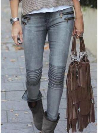 Taschen Shirred Übergröße Sexy Dünn Denim Jeans
