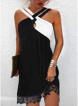 Color Block Lace Sleeveless Shift Above Knee Elegant Dresses