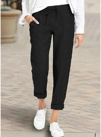 Taschen Shirred Übergröße Lässige Kleidung Lange Hosen