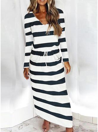 Striped Long Sleeves Sheath Casual Maxi Dresses