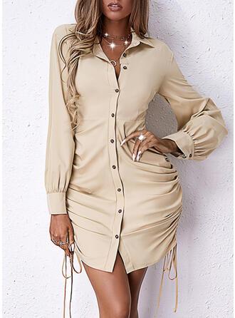Solid Long Sleeves Sheath Above Knee Elegant Shirt Dresses