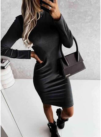 Solid Long Sleeves Sheath Above Knee Casual Pencil Dresses