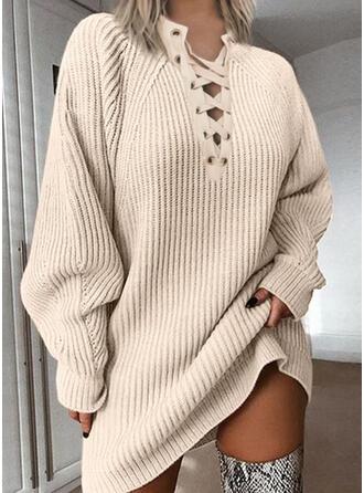 Einfarbig Grobstrick V-Ausschnitt Freizeit Lang Pulloverkleid