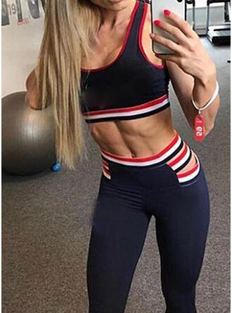 U-Ausschnitt Ärmellos Gestreift Sportgamaschen Sport-BHs Yoga-Sets