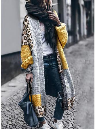 Geblockte Farben Leopard Freizeit Lang Strickjacken (1002333427)