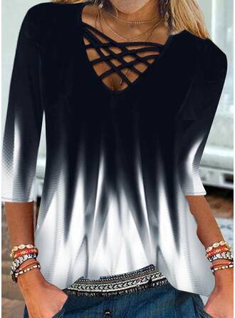 Gradient V-Neck 3/4 Sleeves T-shirts