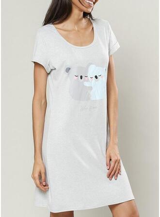 Rundhalsausschnitt Kurze Ärmel Drucken Lässige Kleidung Nachtkleid