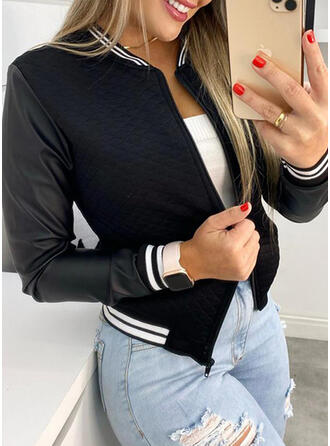 Knit Long Sleeves Solid Jackets