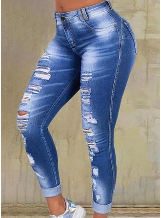 Solid Denim Long Casual Plus Size Pocket Ripped Pants Denim & Jeans