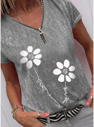 Drucken Blumen Figur V-Ausschnitt Kurze Ärmel Freizeit Blusen