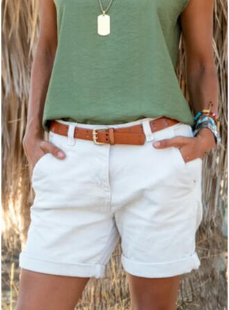 Solid Above Knee Casual Plus Size Pocket Pants Shorts