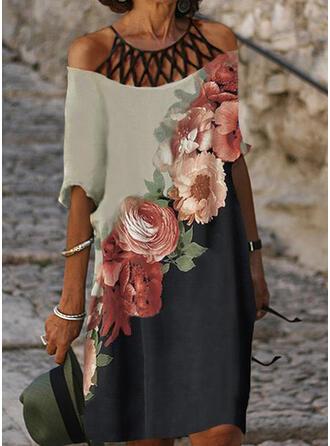 Druck/Blumen/Geblockte Farben 1/2 Ärmel Shift Knielang Freizeit Tunika Kleider