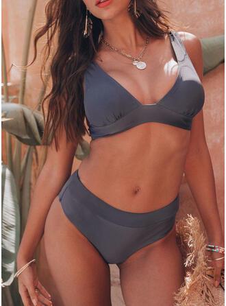 Einfarbig Hochtailliert Träger V-Ausschnitt Schön Lässige Kleidung Bikinis Bademode
