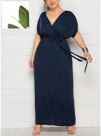 Einfarbig Kurze Ärmel Etui Vintage/Kleine Schwarze/Große Größen Maxi Kleider