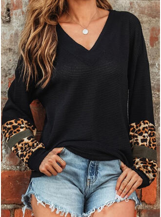 Leopard Print V-Neck Long Sleeves T-shirts