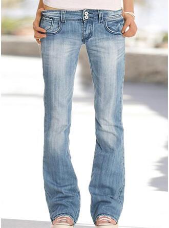 Taschen Übergröße Lange Einfach Denim Jeans