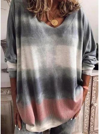 Tie Dye V-Neck Long Sleeves Sweatshirt