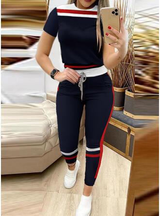 Striped Color Block Sporty Plus Size Tee & Suits Set