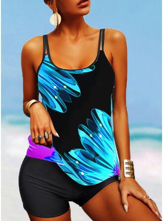 Print Splice color Strap U-Neck Casual Tankinis Swimsuits