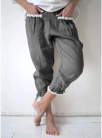 Taschen Shirred Übergröße Lässige Kleidung Einfach Lounge Pants