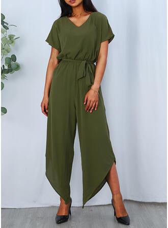 Solid V-Neck Short Sleeves Casual Jumpsuit