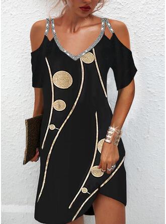 Print Sequins Short Sleeves Cold Shoulder Sleeve Shift Above Knee Elegant Dresses