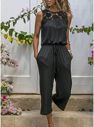 Spitze Einfarbig Rundhalsausschnitt Ärmellos Lässige Kleidung Overall