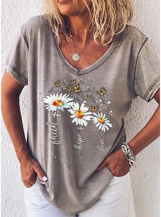 Mit Tierdruck Figur Blumen V-Ausschnitt Kurze Ärmel T-Shirts
