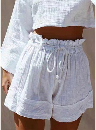 Einfarbig Kordelzug Boho Lässige Kleidung Kurze Hose