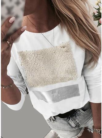 Drucken Pailletten Rundhalsausschnitt Lange Ärmel Freizeit T-shirts