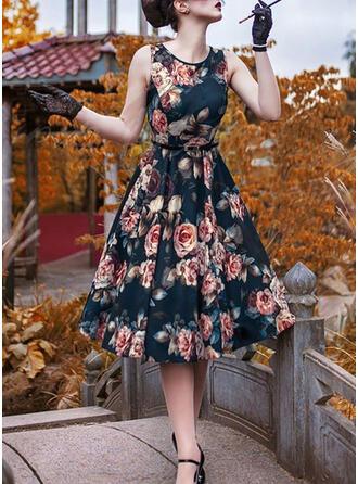 Druck/Blumen Ärmellos A-Linien Vintage/Party/Elegant Midi Kleider