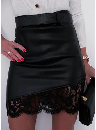 Polyester Einfarbig Lace Über dem Knie Bodycon Röcke